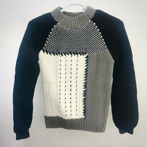 ONLY White Navy Gray Patchwork Sweater